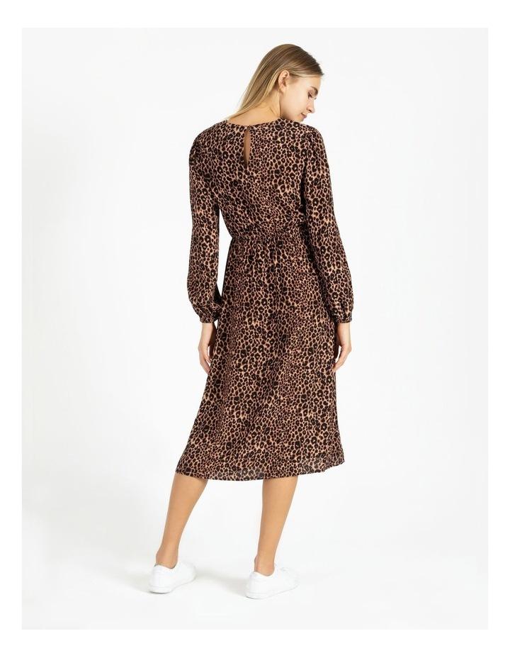 Crepe Blouson Sleeve Midi Dress image 3