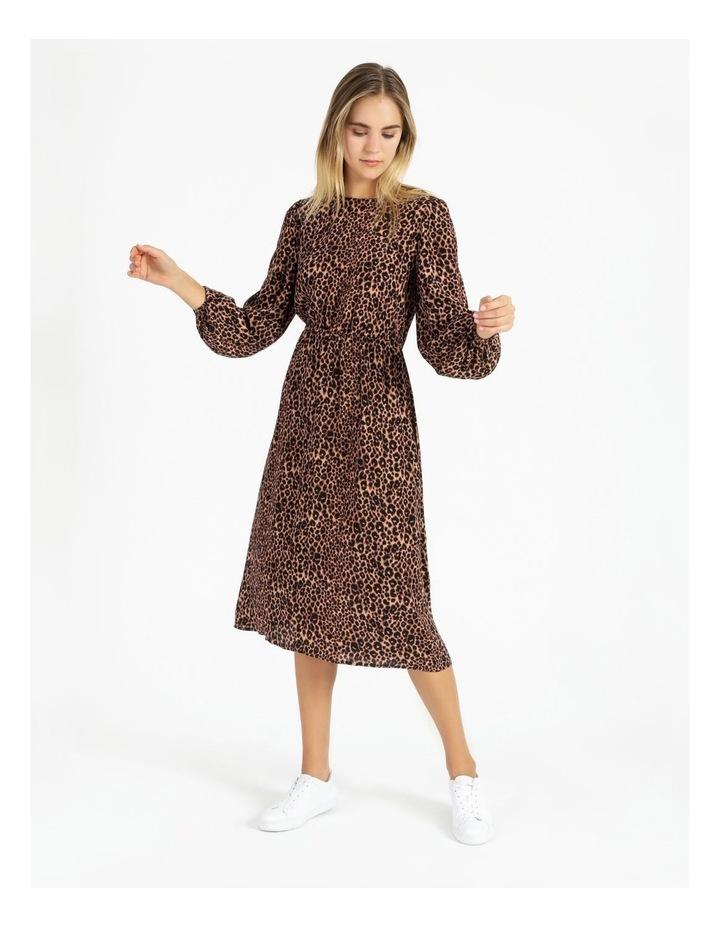 Crepe Blouson Sleeve Midi Dress image 4