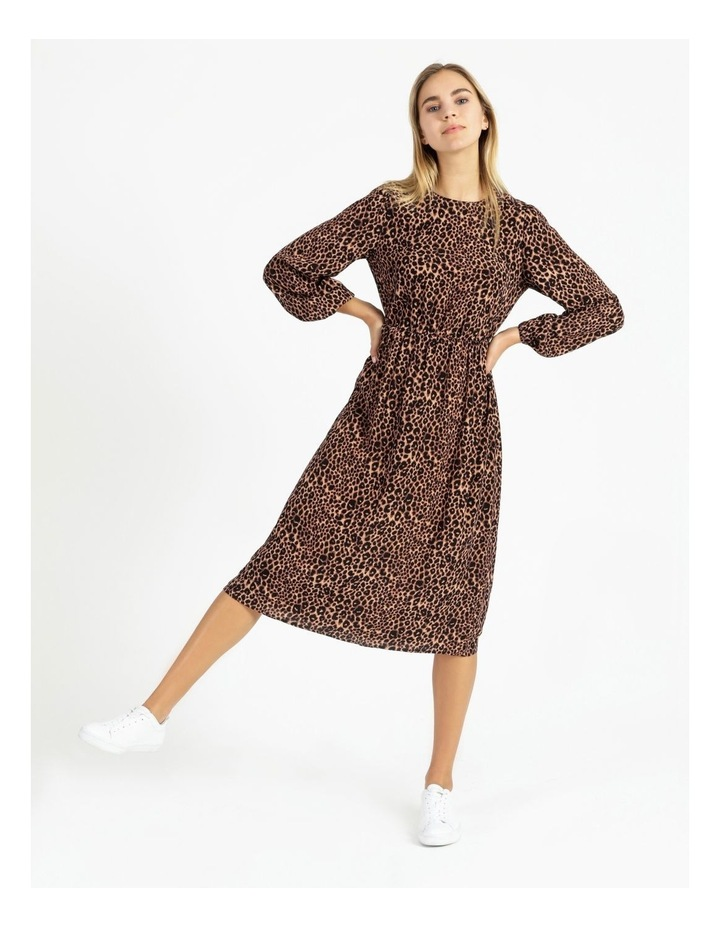 Crepe Blouson Sleeve Midi Dress image 5