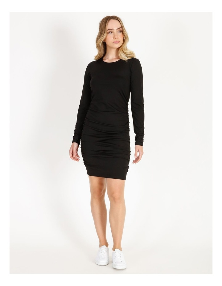 Long-Sleeve Ruched Jersey Dress image 1