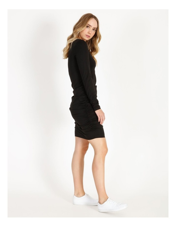 Long-Sleeve Ruched Jersey Dress image 2