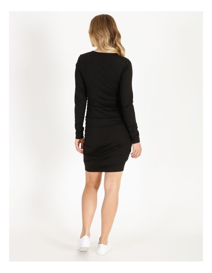 Long-Sleeve Ruched Jersey Dress image 3