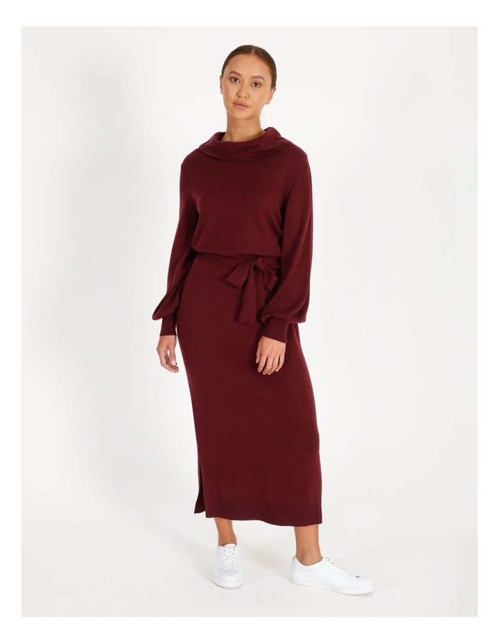 Blouson Sleeve Wool Blend Knitted Dress image 1