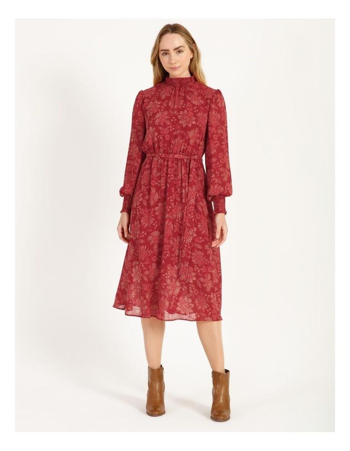 High Neck Shirred Midi Dress image 1