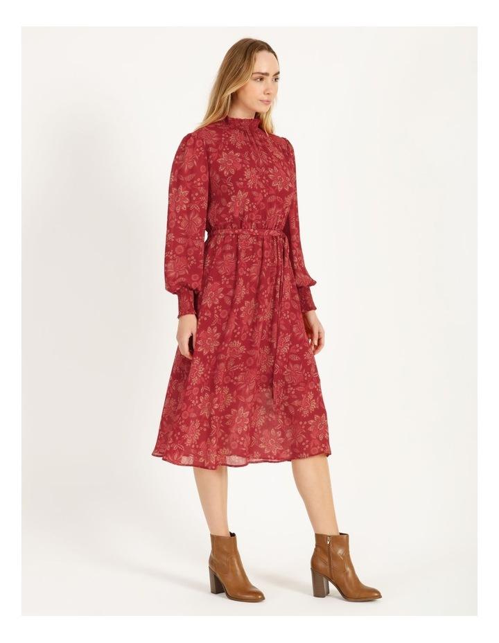 High Neck Shirred Midi Dress image 2
