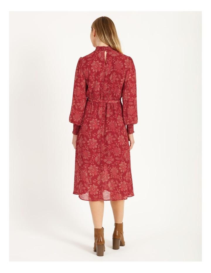 High Neck Shirred Midi Dress image 3