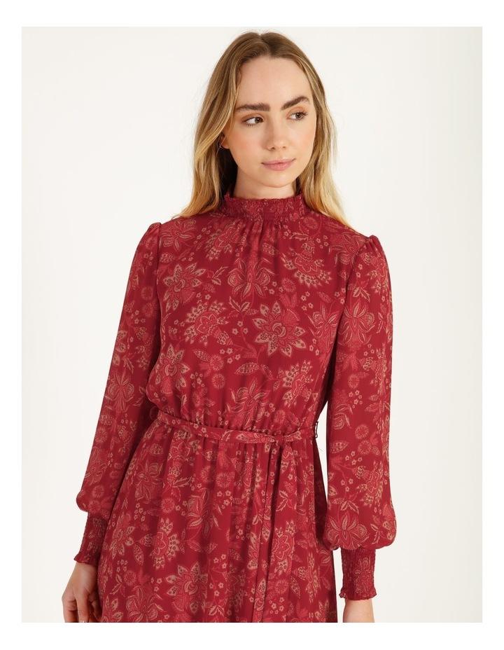High Neck Shirred Midi Dress image 4