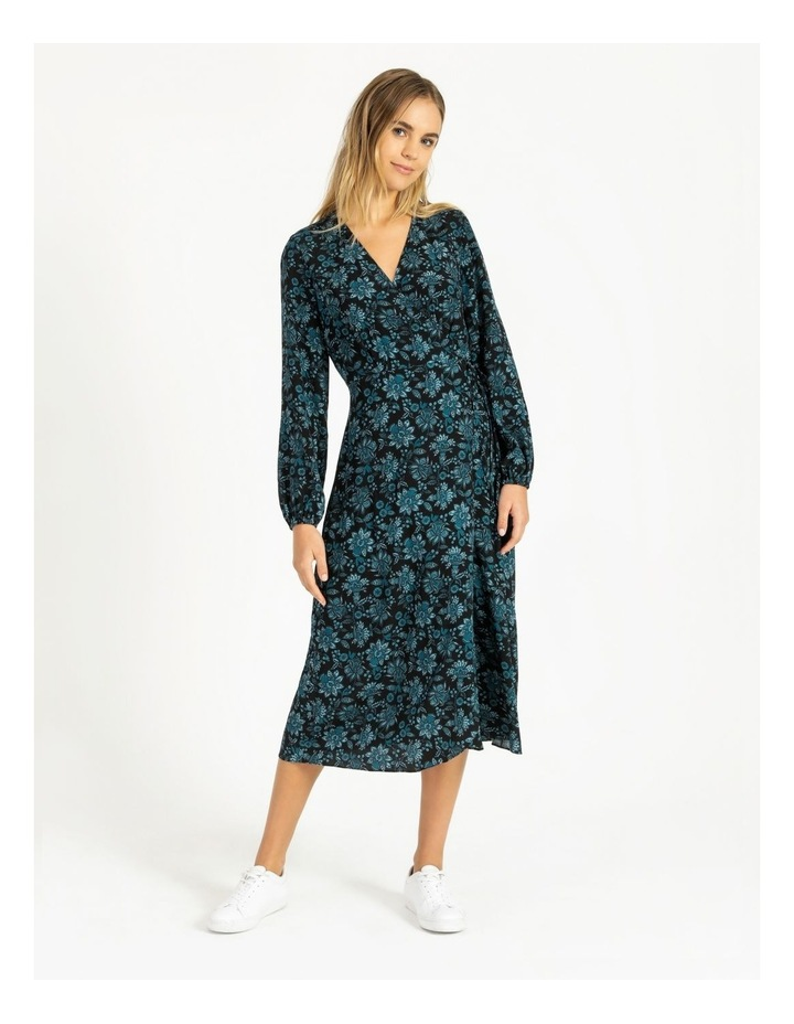 Blouson Sleeve Wrap Midi Dress image 4