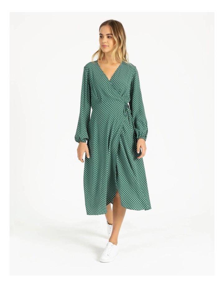 Blouson Sleeve Wrap Midi Dress image 1
