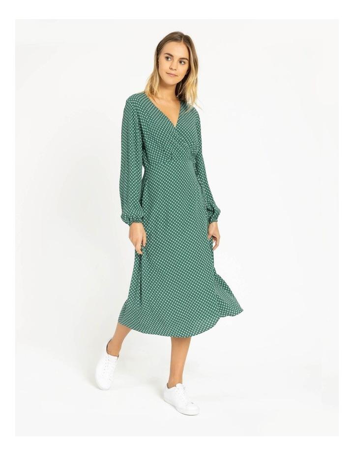 Blouson Sleeve Wrap Midi Dress image 2