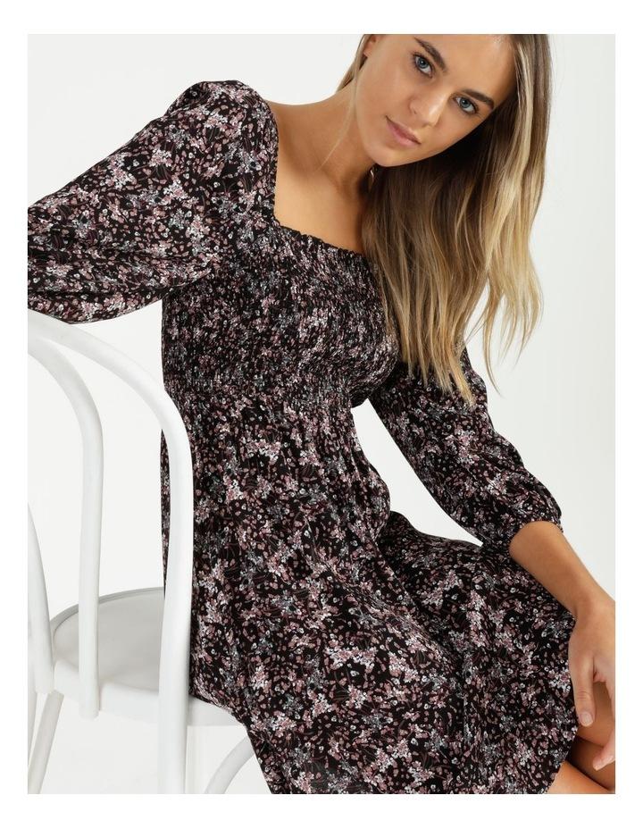 Puff Sleeve Shirred Mini Dress image 3