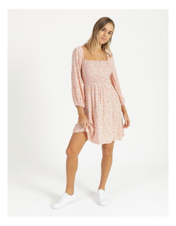 Puff Sleeve Shirred Mini Dress image 1