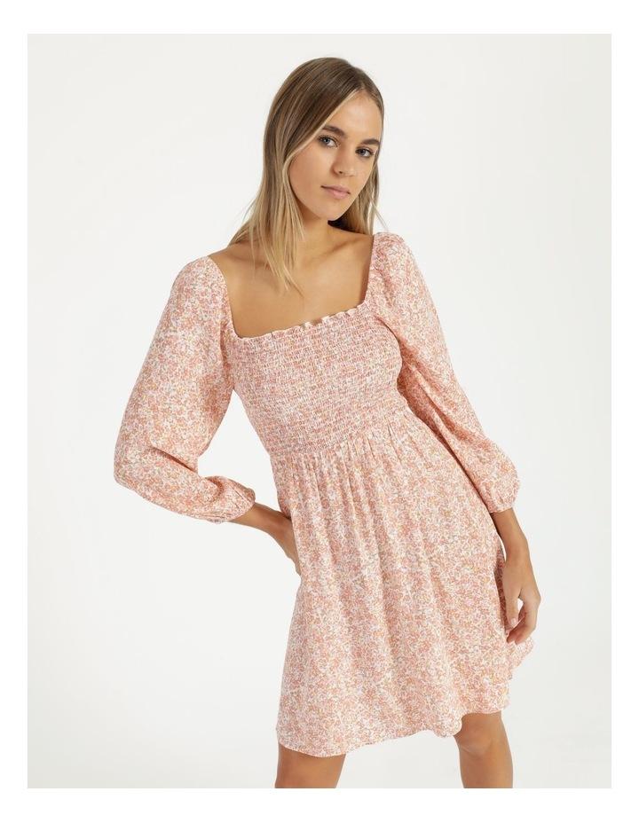 Puff Sleeve Shirred Mini Dress image 2