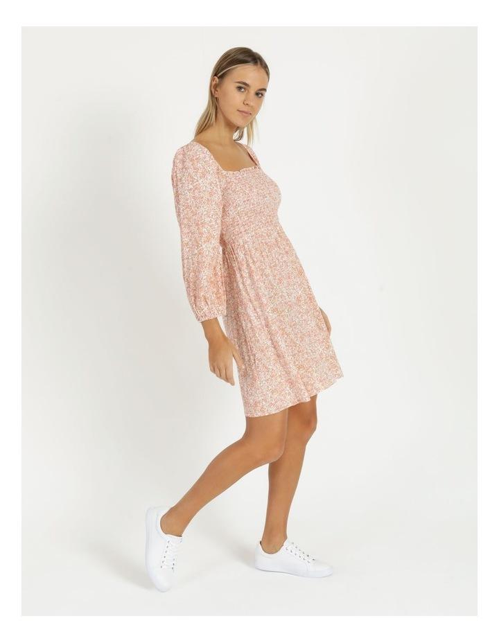 Puff Sleeve Shirred Mini Dress image 4