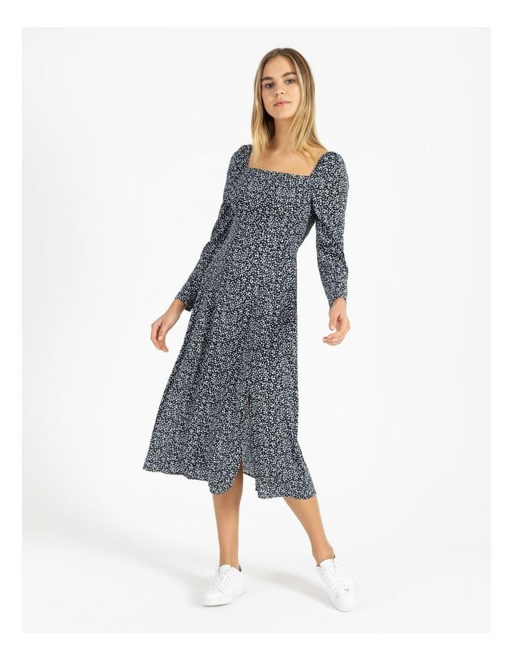 Long Sleeve Puff Midi Dress image 1