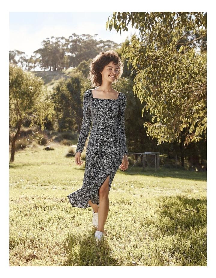 Long Sleeve Puff Midi Dress image 2