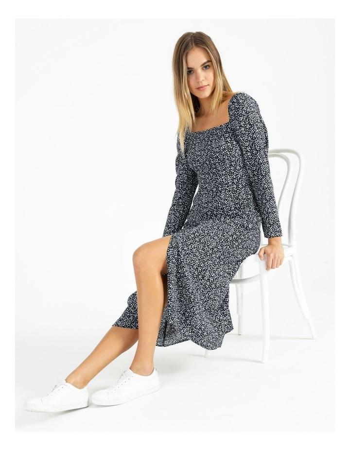 Long Sleeve Puff Midi Dress image 3