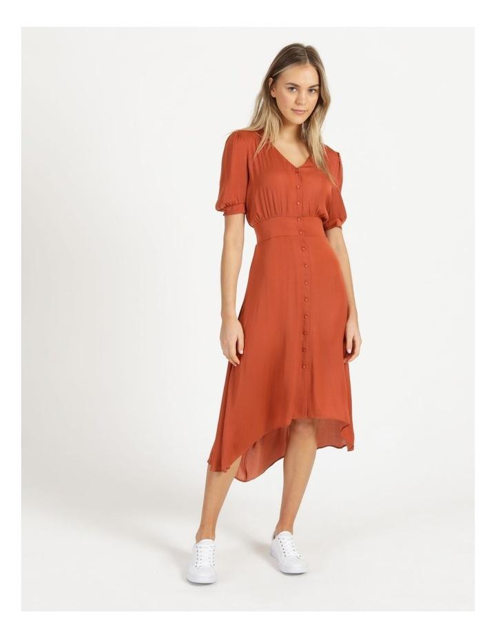 Shirred Waist Satin Midi Dress image 1
