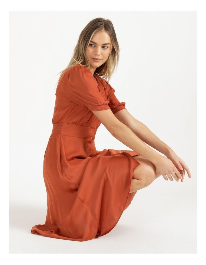Shirred Waist Satin Midi Dress image 2