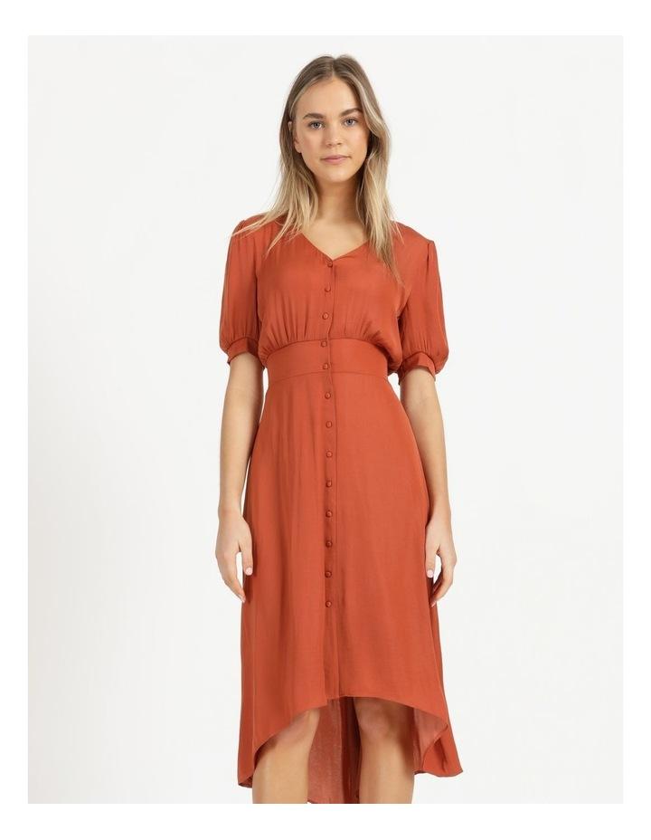 Shirred Waist Satin Midi Dress image 3