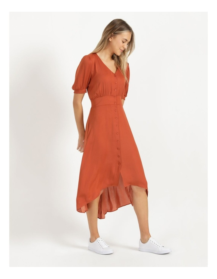 Shirred Waist Satin Midi Dress image 4