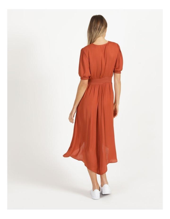 Shirred Waist Satin Midi Dress image 5