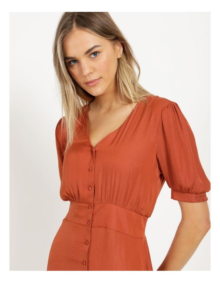 Shirred Waist Satin Midi Dress image 6
