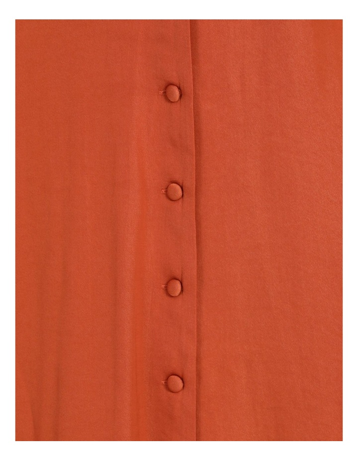 Shirred Waist Satin Midi Dress image 7