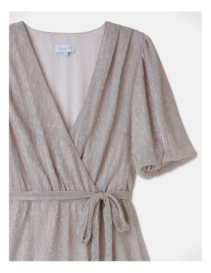 Metallic Plisse Mini Dress Blush image 2
