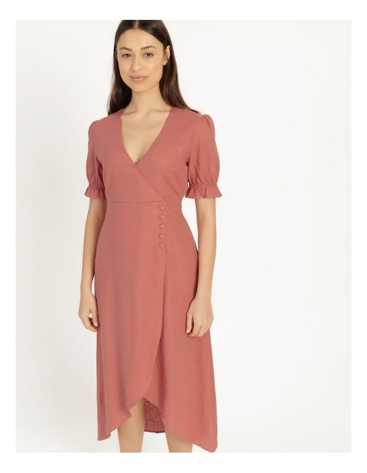 Button Detail Linen Blend Midi Dress Coral image 1