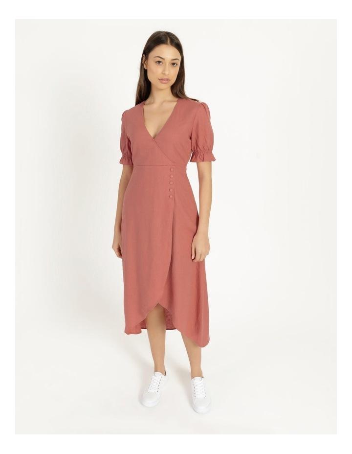 Button Detail Linen Blend Midi Dress Coral image 2