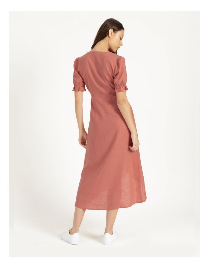 Button Detail Linen Blend Midi Dress Coral image 6