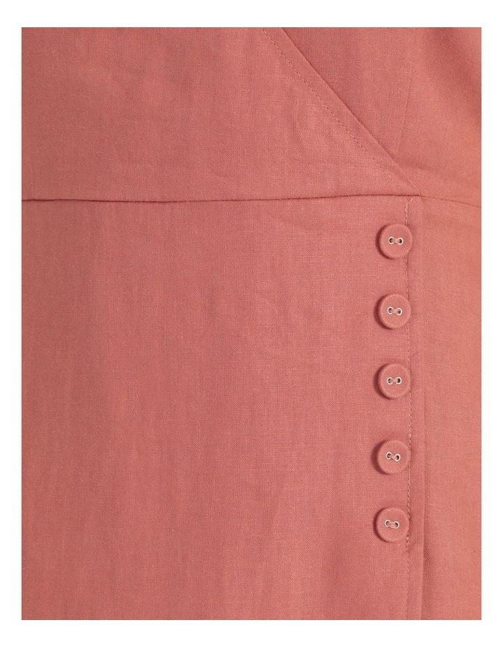 Button Detail Linen Blend Midi Dress Coral image 7
