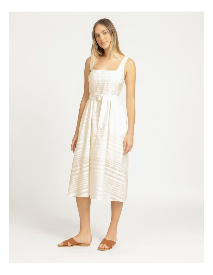 Cotton Blend Midi Dress Sheer Stripe image 1