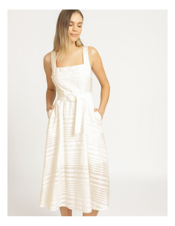 Cotton Blend Midi Dress Sheer Stripe image 2