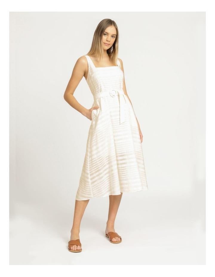 Cotton Blend Midi Dress Sheer Stripe image 3