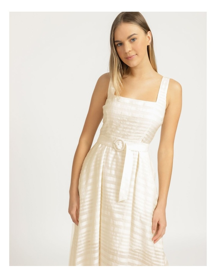 Cotton Blend Midi Dress Sheer Stripe image 4