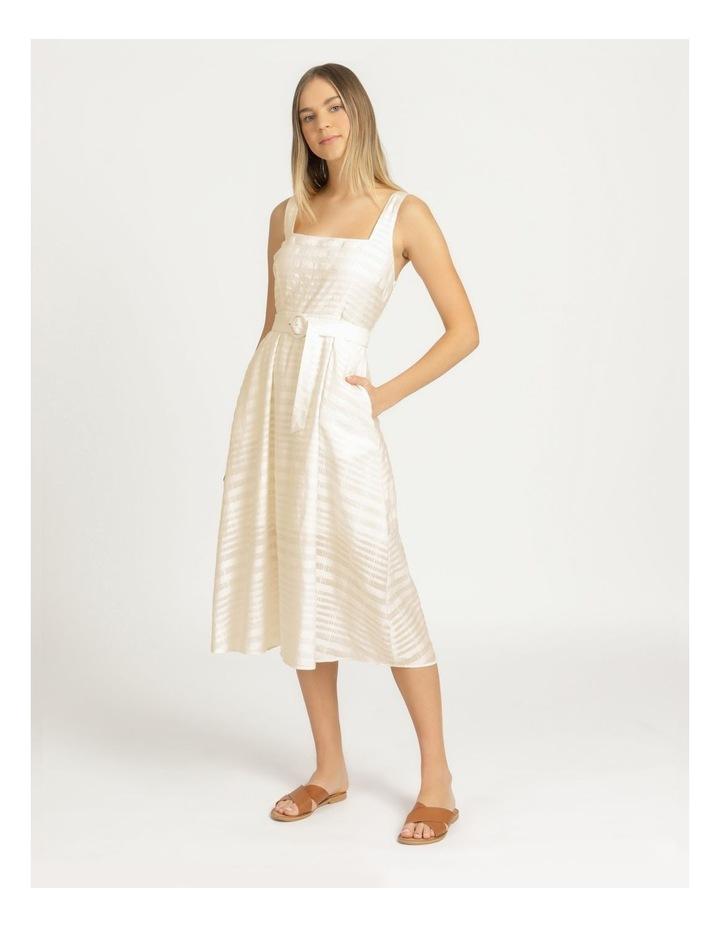 Cotton Blend Midi Dress Sheer Stripe image 5