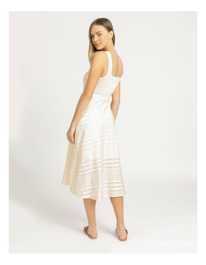 Cotton Blend Midi Dress Sheer Stripe image 6