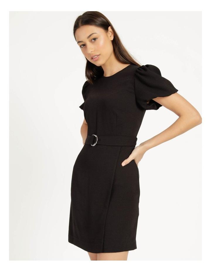 Puff Sleeve Stretch Crepe Mini Wrap Dress Black image 1