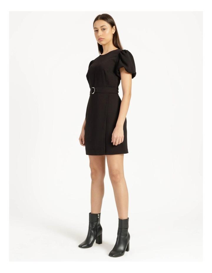 Puff Sleeve Stretch Crepe Mini Wrap Dress Black image 2