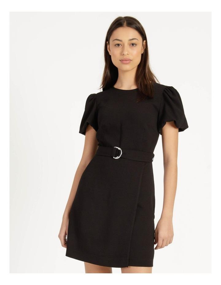 Puff Sleeve Stretch Crepe Mini Wrap Dress Black image 3
