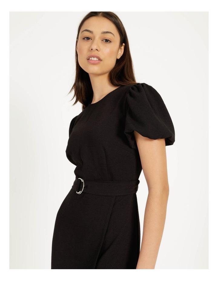 Puff Sleeve Stretch Crepe Mini Wrap Dress Black image 5