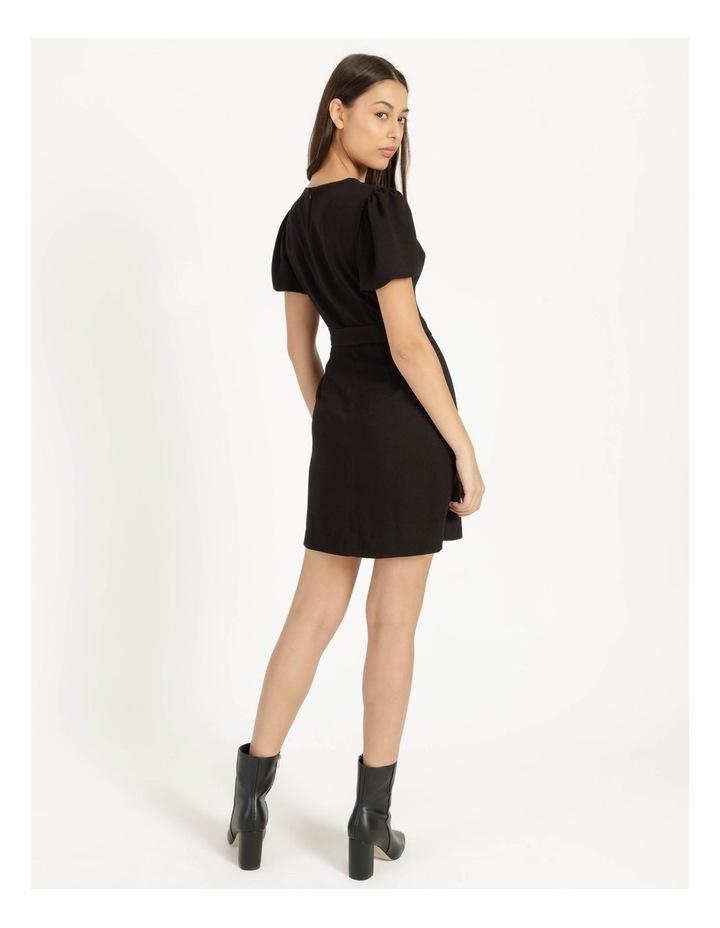 Puff Sleeve Stretch Crepe Mini Wrap Dress Black image 6