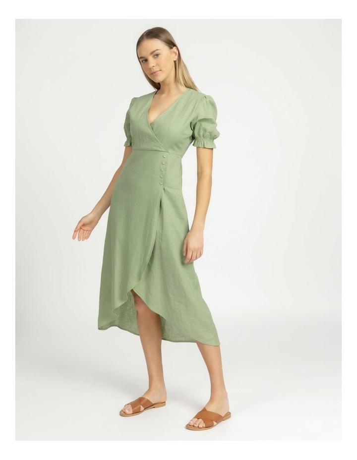 Button Detail Linen Blend Midi Dress Summer Green image 1
