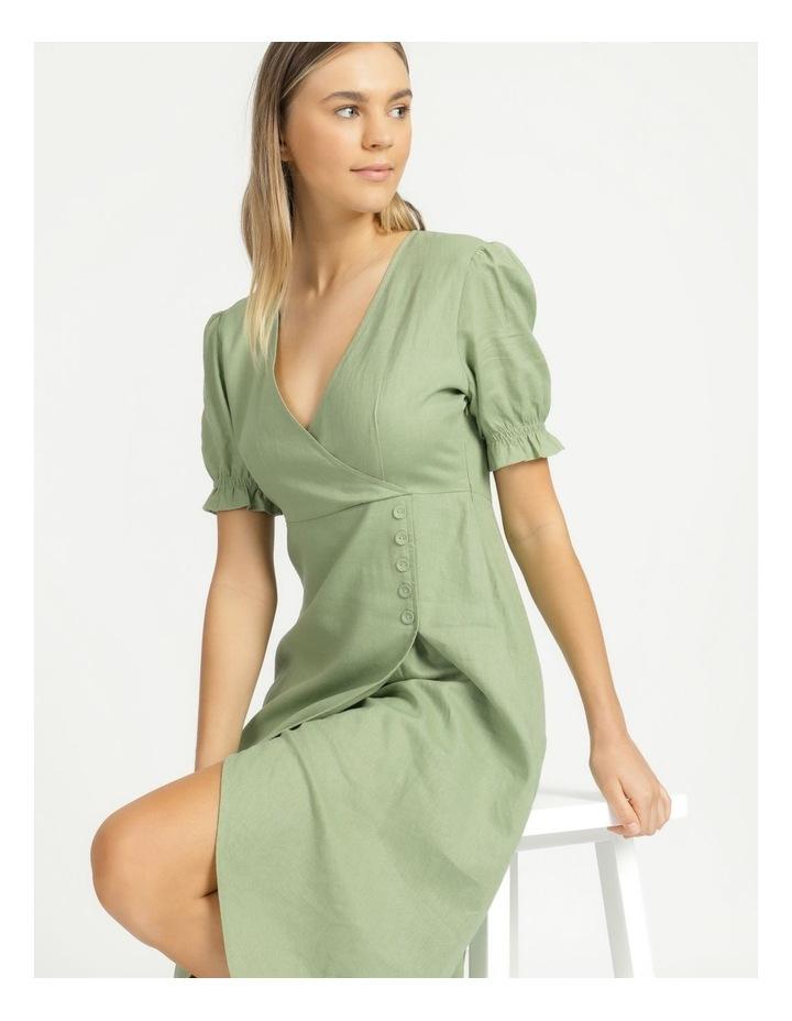 Button Detail Linen Blend Midi Dress Summer Green image 2