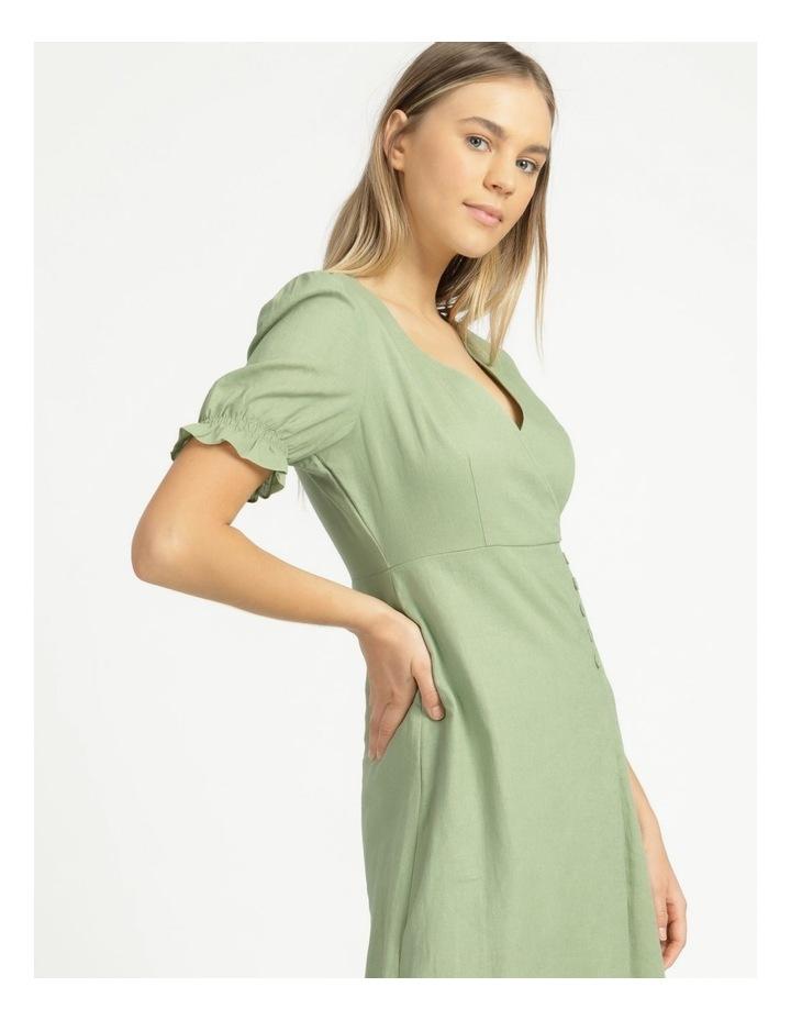 Button Detail Linen Blend Midi Dress Summer Green image 3