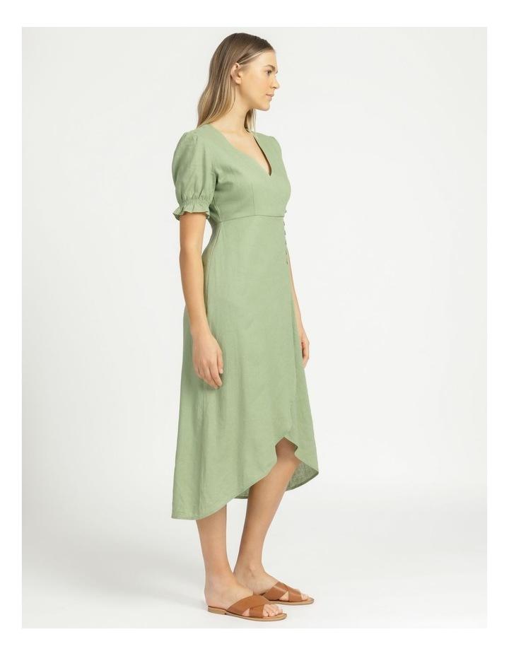 Button Detail Linen Blend Midi Dress Summer Green image 4