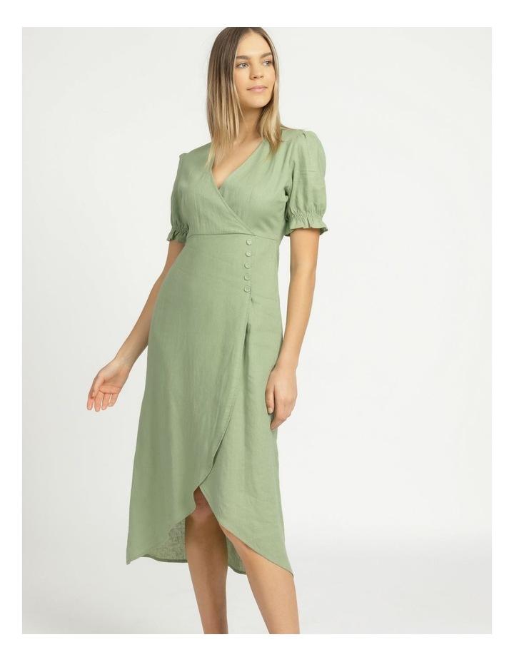 Button Detail Linen Blend Midi Dress Summer Green image 5