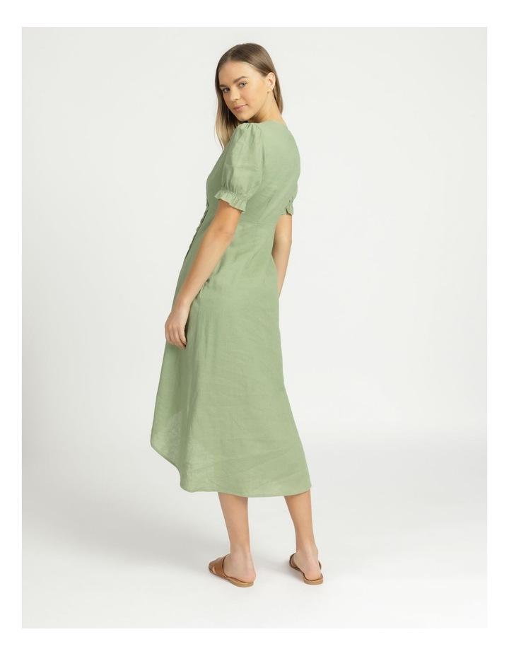 Button Detail Linen Blend Midi Dress Summer Green image 6